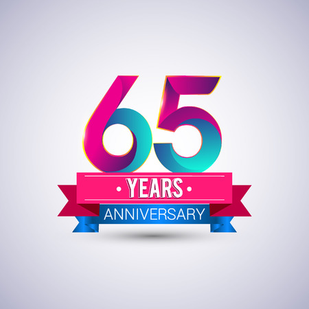 65 years anniversary logo, blue and red colored vector design Illustration