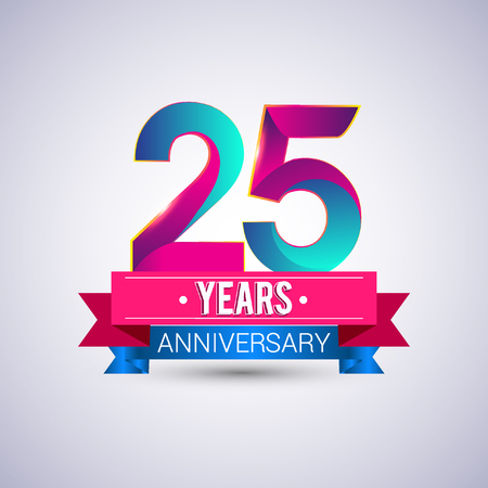 25 years anniversary logo, blue and red colored vector design