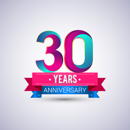 30 years anniversary logo, blue and red colored vector design