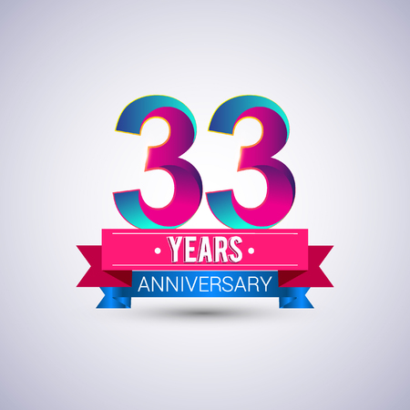 33 years anniversary logo, blue and red colored vector design Illustration