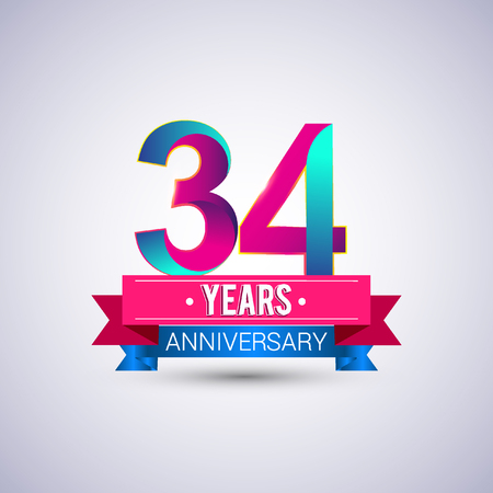 34: 34 years anniversary logo, blue and red colored vector design