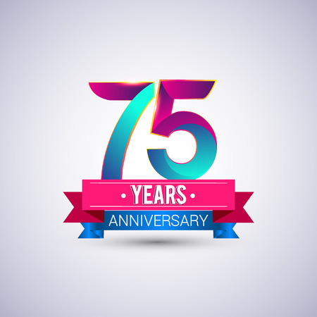 75 years anniversary logo, blue and red colored vector design