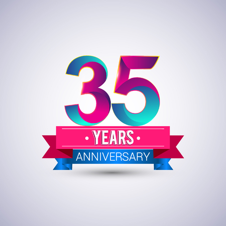 35 years anniversary logo, blue and red colored vector design
