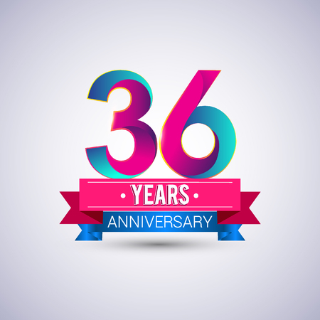 36: 36 years anniversary logo, blue and red colored vector design