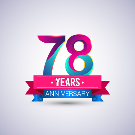 78 years anniversary logo, blue and red colored vector design