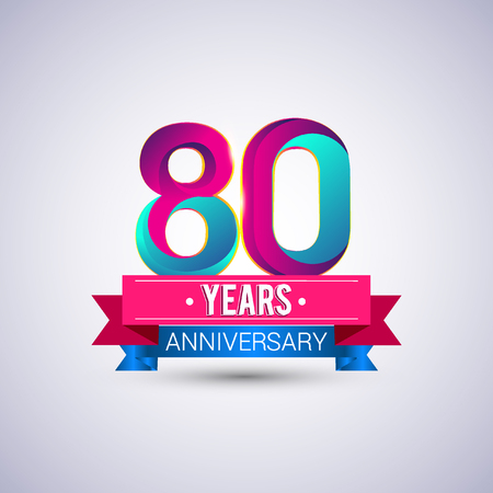 80th: 80 years anniversary logo, blue and red colored vector design Illustration