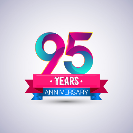 95 years anniversary logo, blue and red colored vector design