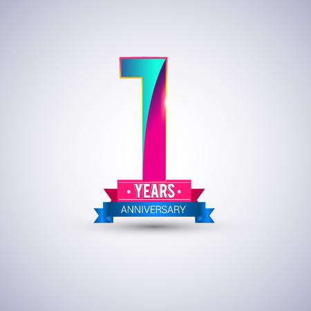 1 jaar jubileumlogo, blauw en rood gekleurd vectorontwerp Logo