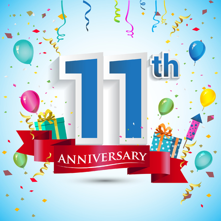 11th Year Anniversary Celebration Design, with gift box and balloons, Blue ribbon, Colorful Vector template elements for your eleven birthday celebrating party. Vettoriali