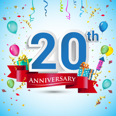 20th Year Anniversary Celebration Design, with gift box and balloons, Blue ribbon, Colorful Vector template elements for your twenty birthday celebrating party.