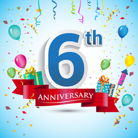 6th: 6th Year Anniversary Celebration Design, with gift box and balloons, Blue ribbon, Colorful Vector template elements for your six birthday celebrating party.