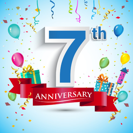 7th Year Anniversary Celebration Design, with gift box and balloons, Blue ribbon, Colorful Vector template elements for your seven birthday celebrating party.