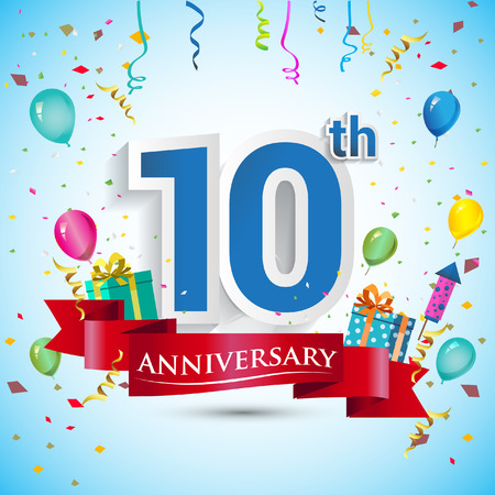 10th Year Anniversary Celebration Design, with gift box and balloons, Blue ribbon, Colorful Vector template elements for your ten birthday celebrating party.