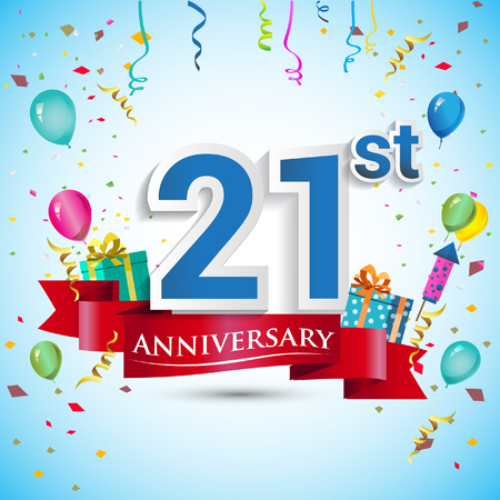 21st Years Anniversary Celebration Design, with gift box and balloons, Blue ribbon, Colorful Vector template elements for your twenty one birthday celebrating party.