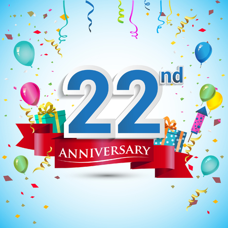 22nd Years Anniversary Celebration Design, with gift box and balloons, Blue ribbon, Colorful Vector template elements for your twenty two birthday celebrating party. Vettoriali
