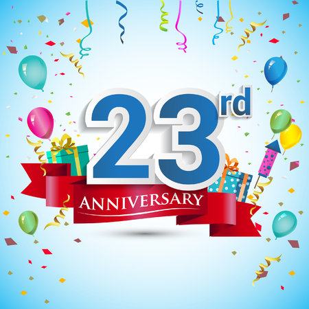23rd Years Anniversary Celebration Design, with gift box and balloons, Blue ribbon, Colorful Vector template elements for your twenty three birthday celebrating party.
