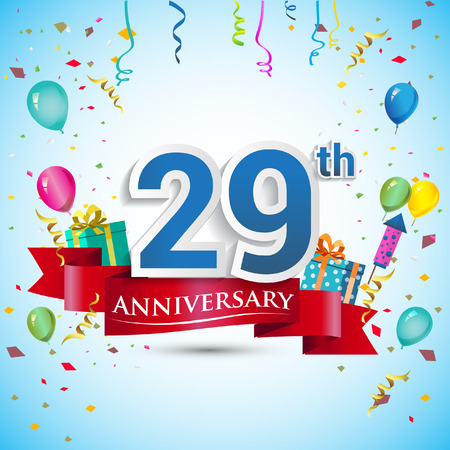 29th Years Anniversary Celebration Design, with gift box and balloons, Blue ribbon, Colorful Vector template elements for your twenty nine birthday celebrating party.