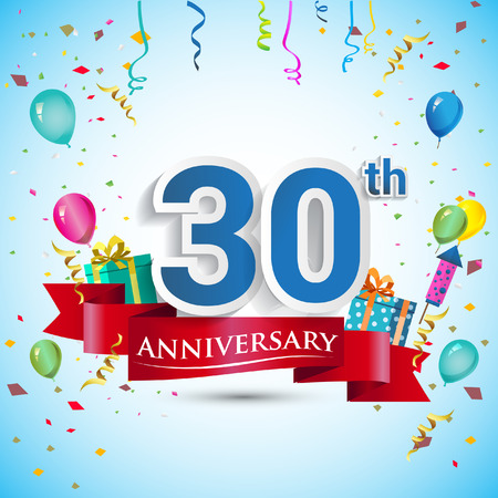 30th Years Anniversary Celebration Design, with gift box and balloons, Blue ribbon, Colorful Vector template elements for your thirty birthday celebrating party. Vettoriali