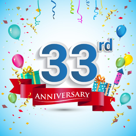 33rd Years Anniversary Celebration Design, with gift box and balloons, Blue ribbon, Colorful Vector template elements for your thirty three birthday celebrating party. Çizim