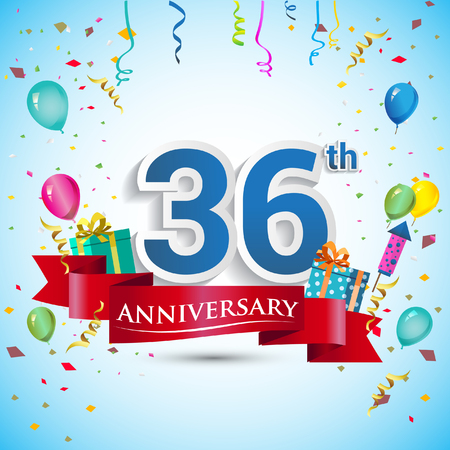 number 36: 36th Years Anniversary Celebration Design, with gift box and balloons, Blue ribbon, Colorful Vector template elements for your thirty six birthday celebrating party.