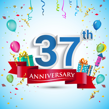 37th Years Anniversary Celebration Design, with gift box and balloons, Blue ribbon, Colorful Vector template elements for your thirty seven birthday celebrating party. Illustration