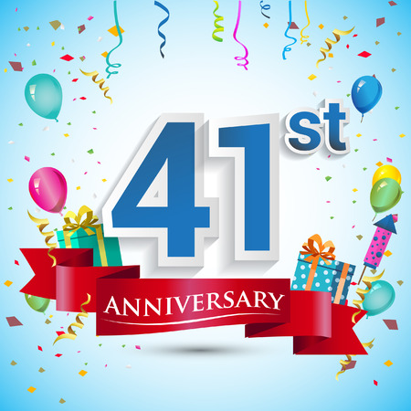 41st Years Anniversary Celebration Design, with gift box and balloons, Blue ribbon, Colorful Vector template elements for your forty one birthday celebrating party.