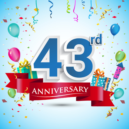 43rd Years Anniversary Celebration Design, with gift box and balloons, Blue ribbon, Colorful Vector template elements for your forty three birthday celebrating party. Çizim