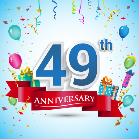 49th Years Anniversary Celebration Design, with gift box and balloons, Blue ribbon, Colorful Vector template elements for your forty nine birthday celebrating party.