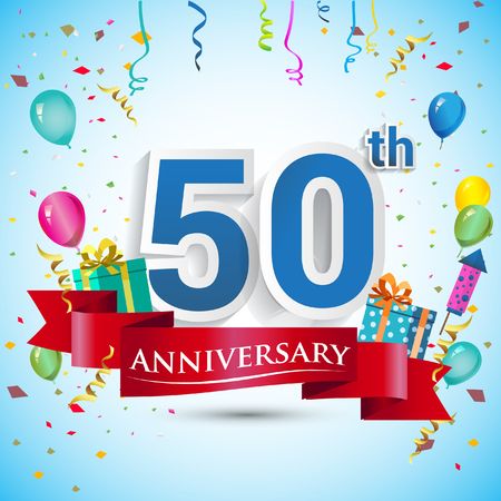 50th Years Anniversary Celebration Design, with gift box and balloons, Blue ribbon, Colorful Vector template elements for your fifty birthday celebrating party. Vectores