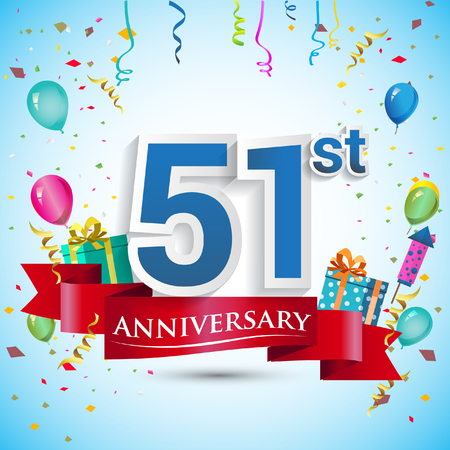 59th Years Anniversary Celebration Design With Gift Box And