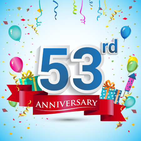 red balloons: 53rd Years Anniversary Celebration Design, with gift box and balloons, Blue ribbon, Colorful Vector template elements for your fifty three birthday celebrating party.
