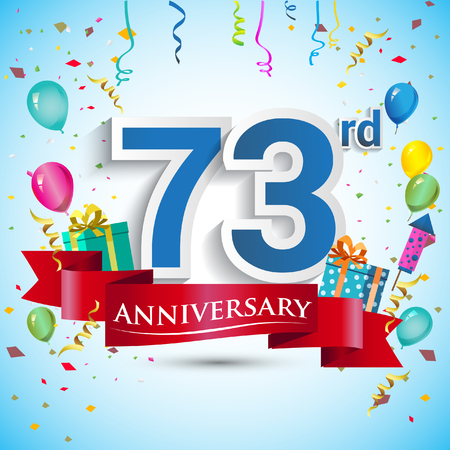 seventy: 73rd Years Anniversary Celebration Design, with gift box and balloons, Blue ribbon, Colorful Vector template elements for your seventy three birthday celebrating party.