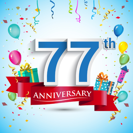 seventy: 77th Years Anniversary Celebration Design, with gift box and balloons, Blue ribbon, Colorful Vector template elements for your seventy seven birthday celebrating party. Illustration