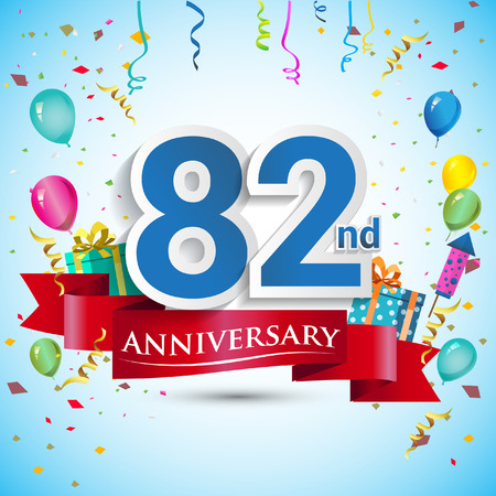 82nd Years Anniversary Celebration Design, with gift box and balloons, Blue ribbon, Colorful Vector template elements for your eighty two birthday celebrating party.