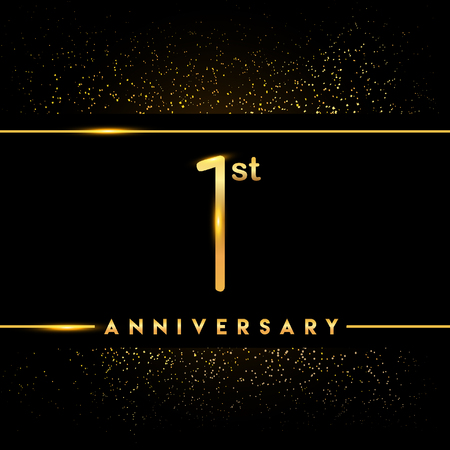 1st anniversary logo with confetti golden colored isolated on black background, vector design for greeting card and invitation card Illustration