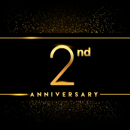 2nd anniversary logo with confetti golden colored isolated on black background, vector design for greeting card and invitation card