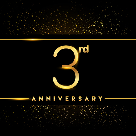 3rd anniversary logo with confetti golden colored isolated on black background, vector design for greeting card and invitation card
