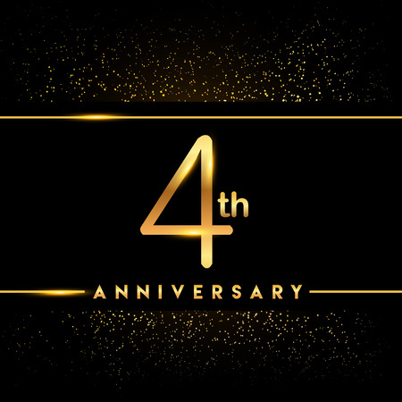 4th anniversary logo with confetti golden colored isolated on black background, vector design for greeting card and invitation card