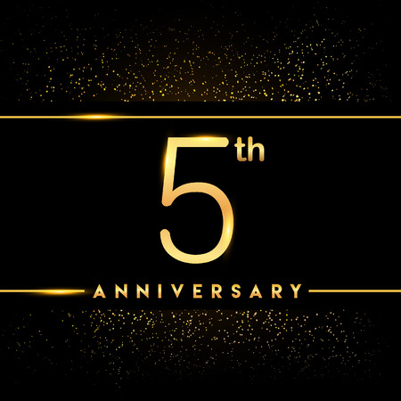 5th anniversary logo with confetti golden colored isolated on black background, vector design for greeting card and invitation card Illustration