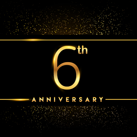 6th anniversary logo with confetti golden colored isolated on black background, vector design for greeting card and invitation card Illustration