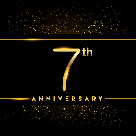 7th anniversary logo with confetti golden colored isolated on black background, vector design for greeting card and invitation card Illustration