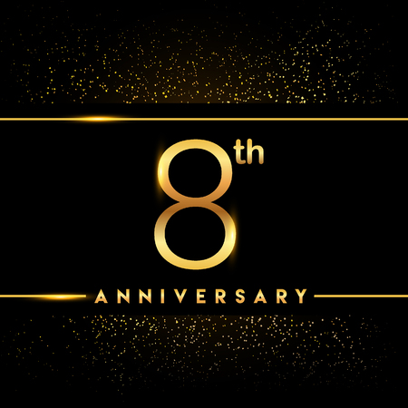 8th anniversary logo with confetti golden colored isolated on black background, vector design for greeting card and invitation card