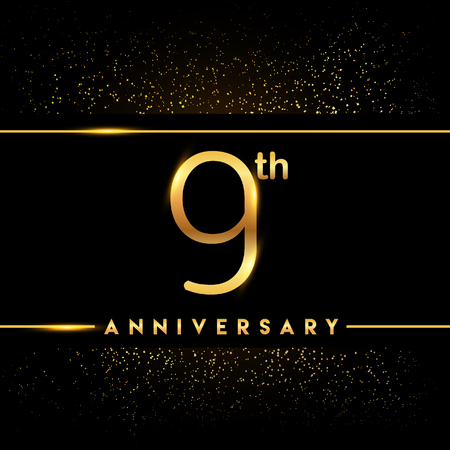9th anniversary logo with confetti golden colored isolated on black background, vector design for greeting card and invitation card