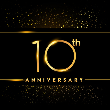 10th anniversary logo with confetti golden colored isolated on black background, vector design for greeting card and invitation card