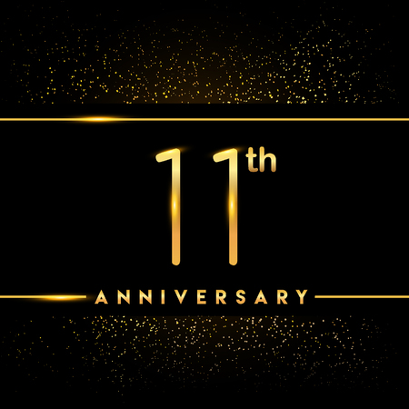 11th anniversary logo with confetti golden colored isolated on black background, vector design for greeting card and invitation card Illustration