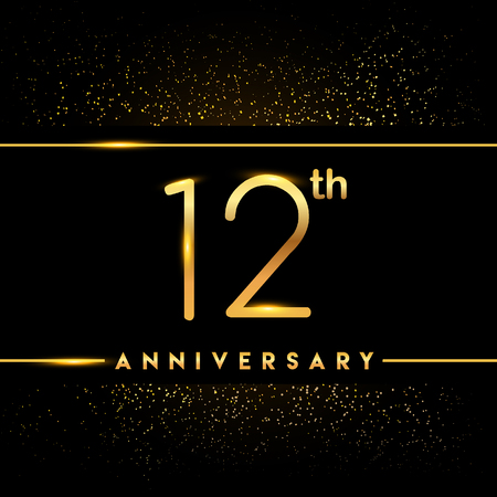 12th anniversary logo with confetti golden colored isolated on black background, vector design for greeting card and invitation card