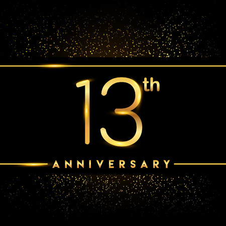13th anniversary logo with confetti golden colored isolated on black background, vector design for greeting card and invitation card