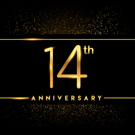 14th anniversary logo with confetti golden colored isolated on black background, vector design for greeting card and invitation card