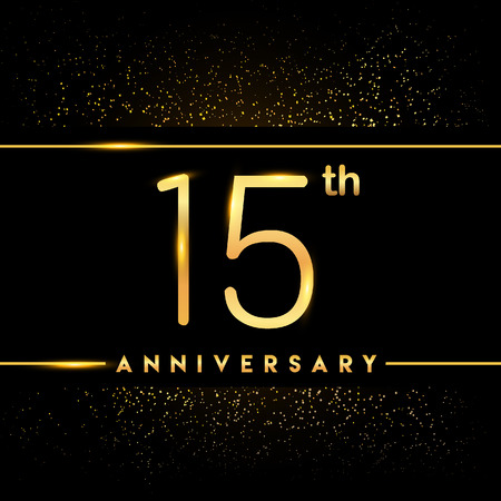 15th anniversary logo with confetti golden colored isolated on black background, vector design for greeting card and invitation card Illustration