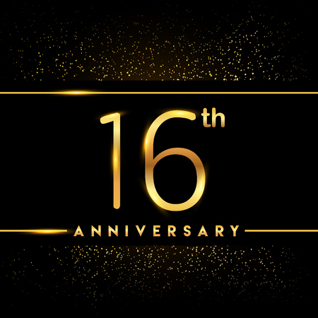 16th anniversary logo with confetti golden colored isolated on black background, vector design for greeting card and invitation card
